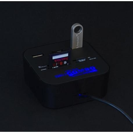 USB šakotuvas su kortelių skaitytuvu