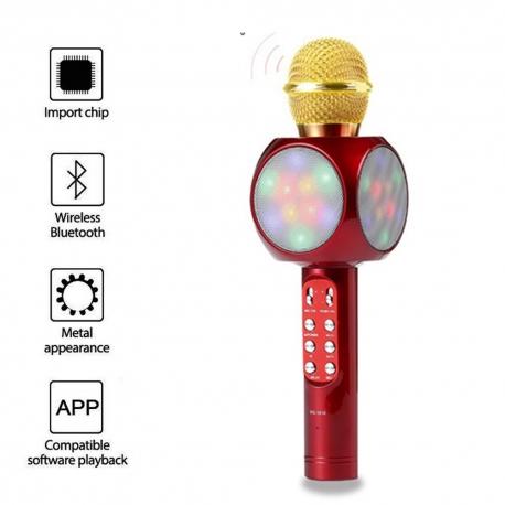 Išmanus karaoke mikrofonas su šviesos efektu WS-1816