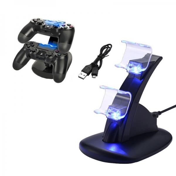 PS4 pultelių stovas su įkrovikliu