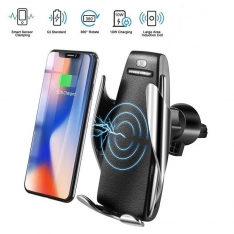 Automatinis telefono laikiklis su Qi įkrovikliu