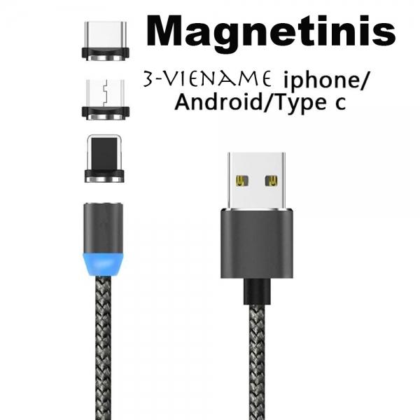 Magnetinis USB įkrovimo laidas 3in1