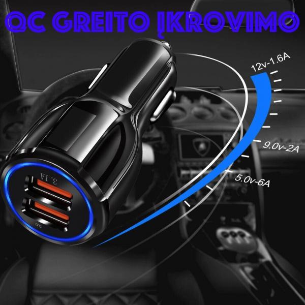 Greito įkrovimo auto SAM. 2 X USB 3.0 FAST adapteris