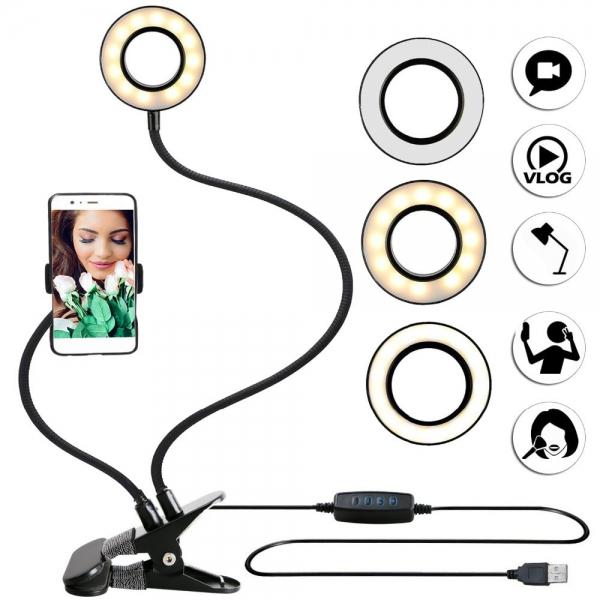 Žiedo formos LED stalo lempa
