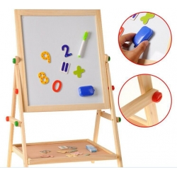 Dvipusė magnetinė lenta piešimui ir žaidimams su priedais ir magnetukų rinkiniu