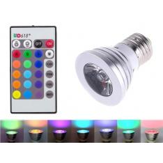 E27 RGB lemputė su pulteliu